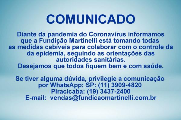 Comunicado Coronavírus - Fundição Martinelli